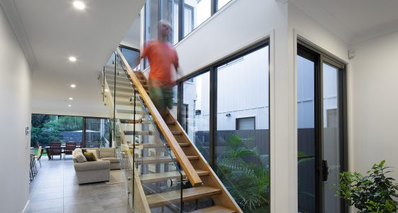 Small Lot Architecture internal light-filled staircase by PlaceMate