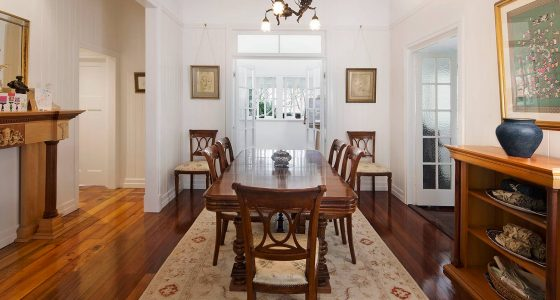 Formal dining are in renovated queenslander Mitchelton